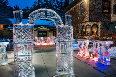 The ice bar at twilight outside Stonehurst Manor.