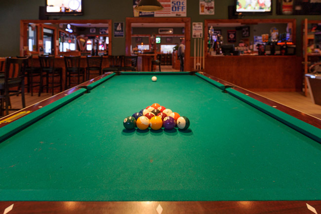 A view of a pool table at Shooter's Tavern, one of New Hampshire's best sports bars.