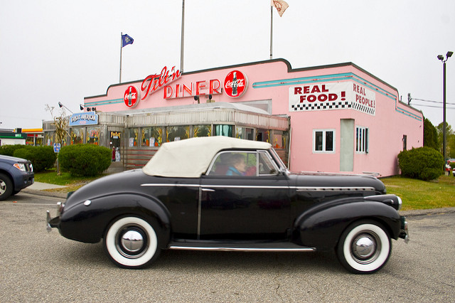 Customers are transported to the 50's at the Tilt'n Diner with retro decor and its classic diner menu.
