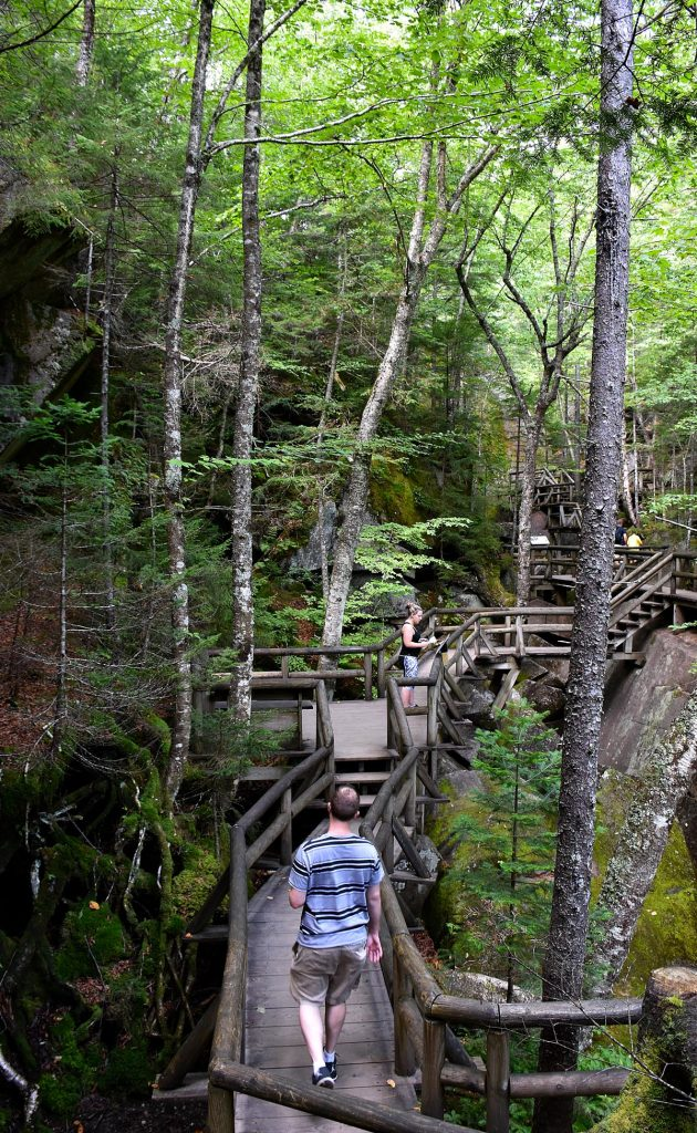 A Hiker on the boardwalk at Lost River Gorge.