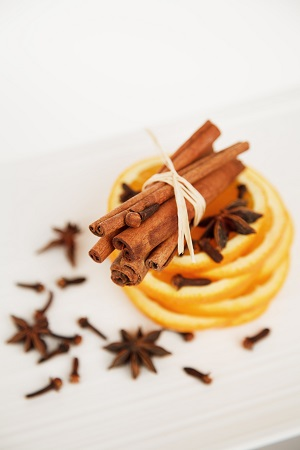 star anise cinnamove oranges for making mulled wine