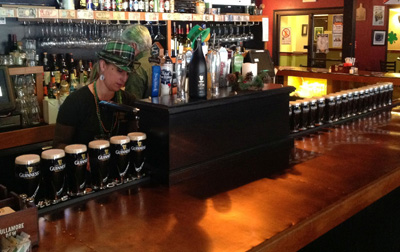 St. Patrick's Day pints of Guiness at Salt hill Pub