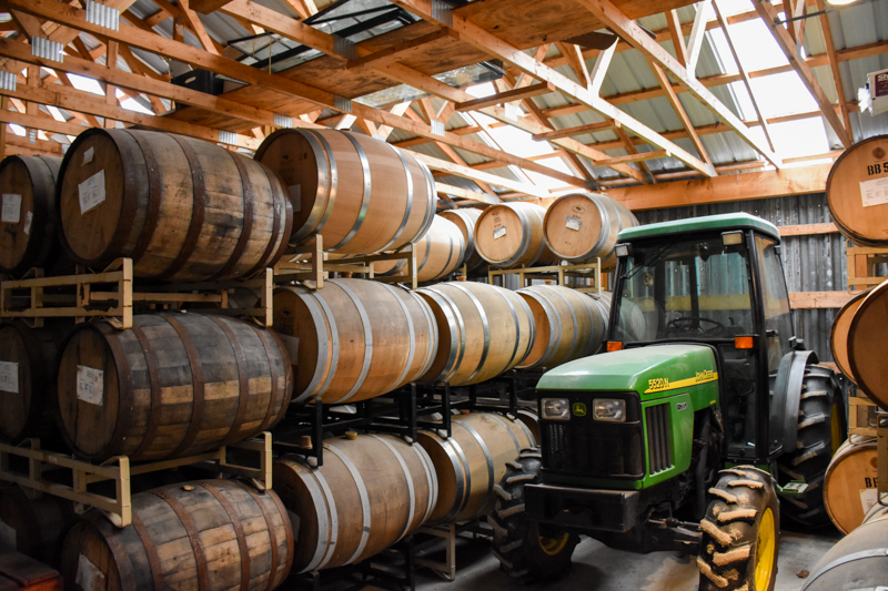 Aging Bourbon, Rum, Apple Brandy and more at Flag Hill.