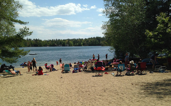 Campers enjoy fun in the sun at Lake Ivanhoe in New Hampshire.