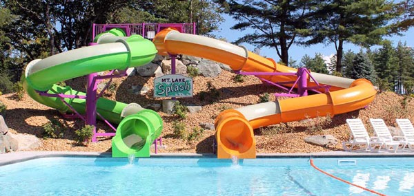 Huge water slides provide hours of family fun at Mountain Lake Campground.