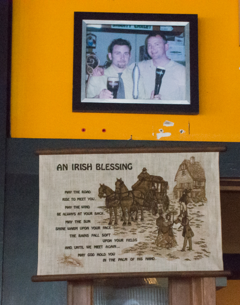 Brothers and owners of the Salt hill Pub restaurants, Josh and Joe Tuohy. A picture of the brothers from earlier days and a traditional Irish blessing, just some of the memorabilia on display at Salt hill Pub Lebanon.