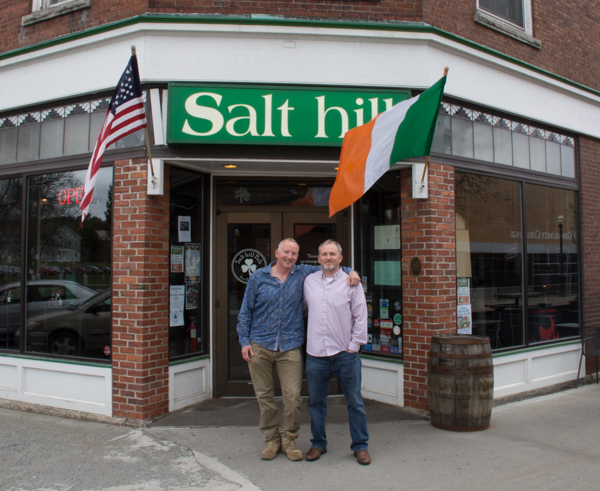 Brothers Joe and Josh Tuohy outside the original Salt hill Pub in Lebanon, New Hampshire.