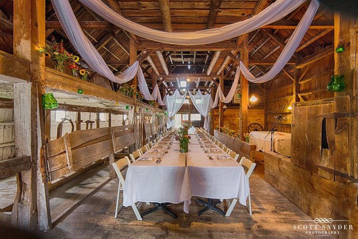 Heart set on a rustic New Hampshire wedding? Check out the barn at Colby Hill Inn, captured here by Scott Snyder Photography.