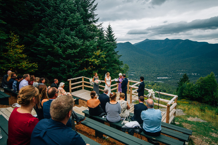 At the Mountain Club on Loon, couples exchange vows high in the White Mountains.