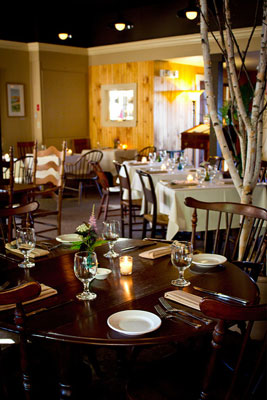 The dining room at Blue Moon Evolution in Exeter, NH is charming and cozy.